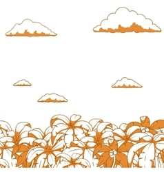 Palm and clouds background vector