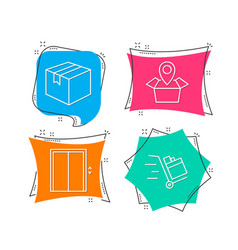 Parcel package location and lift icons push cart vector