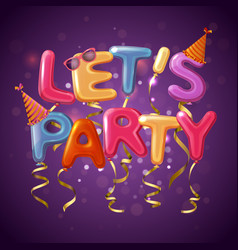 Party balloon letters background vector