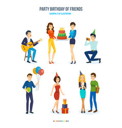 party birthday of friends songs cake gifts vector image