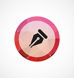 Pen circle pink triangle background icon vector