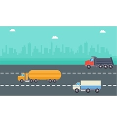 Road tanker delivery and drump truck landscape vector