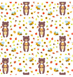 seamless pattern with funny bears and bees cute vector image vector image