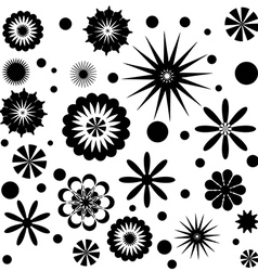 Set of flowers black and white vector