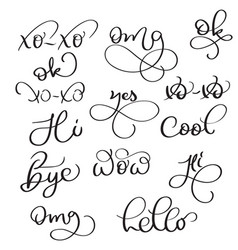 Short words on white background hand drawn vector