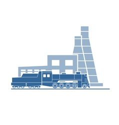 Steam locomotive at industrial plant vector