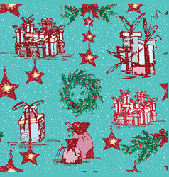 vintage seamless merry christmas pattern in hand vector image vector image