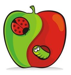 yin yang apple vector image vector image