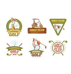 Golf sports club tournament color labels vector