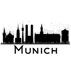 Munich city skyline black and white silhouette vector
