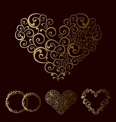 tracery wedding love heart vector image