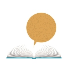 Color silhouette with open book and dialogue vector