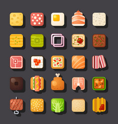 Square shaped food icon set vector