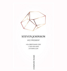 pink business card with a bronze crystal logo vector image