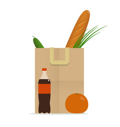 paper bag with food healthy diet vector image