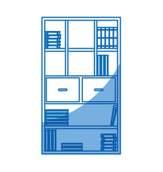 bookshelf literature office library design vector image