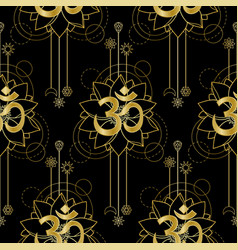 Om and lotus gold seamless pattern vector