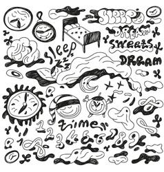 nights sleep - doodles set vector image