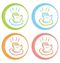 Coffee bar colorful logo desig vector
