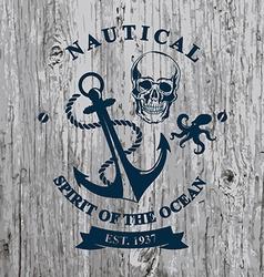 T-shirt design Nautical marine badge design vector image