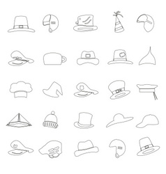 Various black hats outline icons set eps10 vector