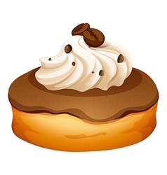 Doughnut with cream and coffee flavor vector