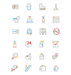 Hotel and restaurant colored line icons 3 vector