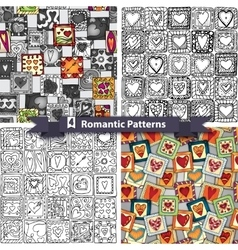 Set of romantic patterns with doodle hearts vector