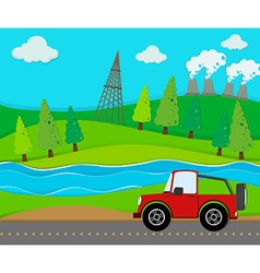 Red jeep riding on the road vector