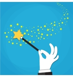 Cartoon hand hold magic wand with stars sparks vector