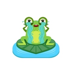 Tearful cartoon frog character vector