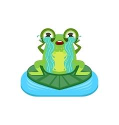 Tearful Cartoon Frog Character vector image