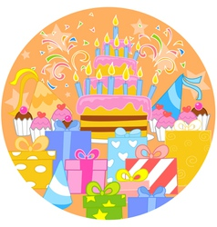 Big birthday cake and decorations vector