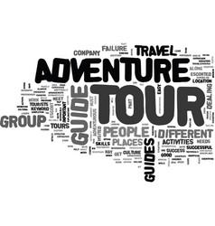 Adventure tour guide text word cloud concept vector