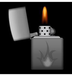Burning metal lighter on black background vector