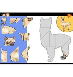 Cartoon alpaca jigsaw puzzle game vector
