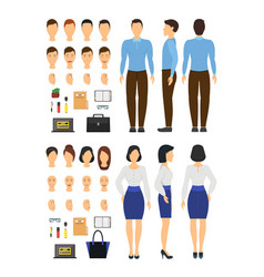 cartoon business woman and man constructor element vector image