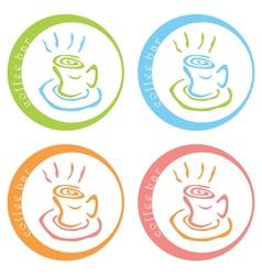 Coffee bar colorful logo desig vector