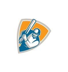 Cricket Player Batsman Batting Shield Retro vector image