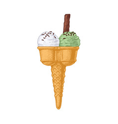 Double ice cream cone vector