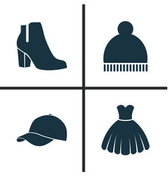 Dress icons set collection of beanie female vector