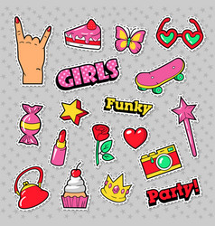 Fashion girls badges patches stickers vector