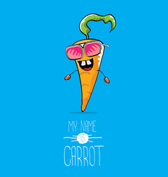 Funny cartoon orange carrot character vector