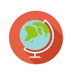 Globe flat style icon on round badge vector image
