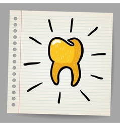 Gold tooth doodle vector image vector image