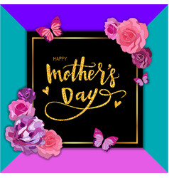 Happy mothers day hand-drawn lettering with roses vector