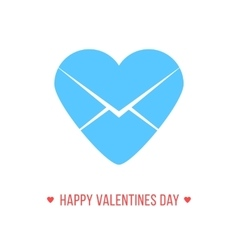 happy valentines day with blue heart letter icon vector image vector image