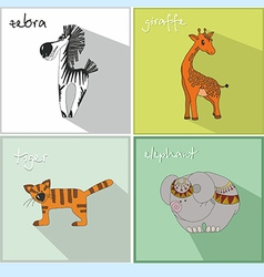 Icons with african animals vector