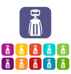 Modern corkscrew icons set flat vector
