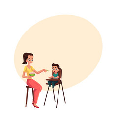 Mother feeding her son sitting in baby high chair vector